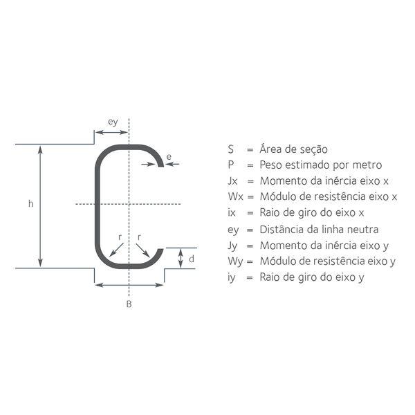 Perfil UDC Enrijecido - 10 x 5 x 0,17cm x 2,25mm